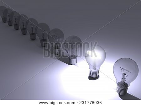 Group Of Incandescent Light Bulbs With One Bulb Illuminated. Idea Concept. 3d Render.