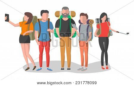Travel People Set Illustration Isolated On White Background. Young Man And Woman Standing With Backp