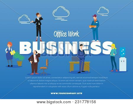 Office Work Business Banner With Successful Business People Illustration. Man In Business Suit Near