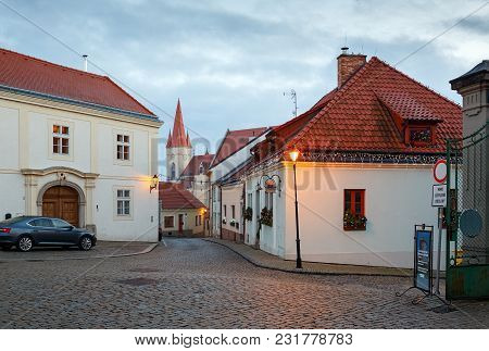 Znojmo/ Czech Republic - December 28, 2017. Cobbled Street In The Historical Downtown On A Winter Ev