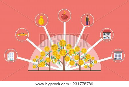 Investment In Old Age Infographics With Money Tree Illustration. Presentation Of Retirement Money Pl