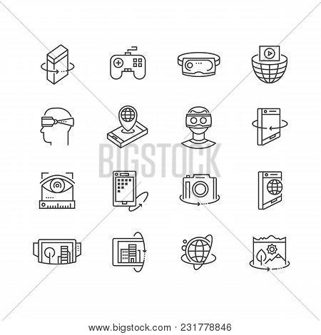 Virtual Reality Technologies Line Icon Set. 360 Degree View, Virtual Reality Goggles And Headset, Ro