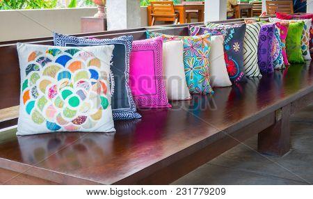 Decorative Pillow Natural Fabric On Wood Long Chiar