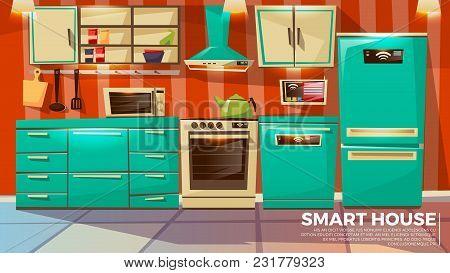Smart Kitchen Interior Background Vector Illustration Of Home Wireless Control Technology. Cartoon F