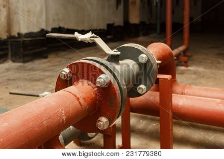 Pipes Of Hot Water Supply On The Technical Floor.