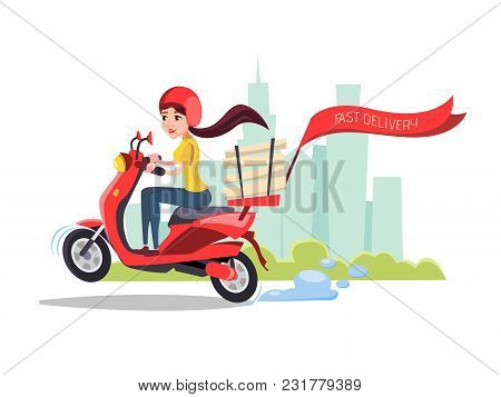 Vector Cartoon Girl Riding Scooter. Delivery Food Pizza Service Poster Background Template With Fema