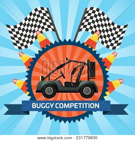 Buggy Car Competition Banner With Checkered Flag Illustration. Outdoor Auto Rally, Extreme Terrain V