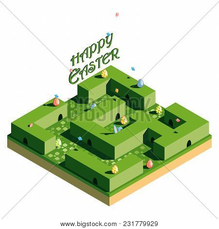 Hunting For Easter Eggs. The Green Labyrinth In Which The Easter Bunny Hid. Inscription Happy Easter