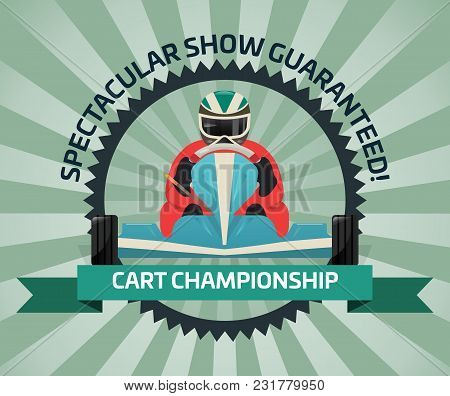 Cart Championship Banner In Flat Design Illustration. Auto Pilots Competition, Speed Racing, Extreme