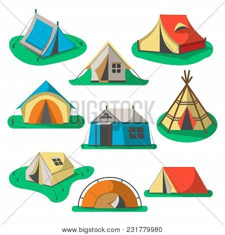 Tourist Tent Icon Set Isolated On White Background Illustration. Camping Equipment, Outdoor Adventur