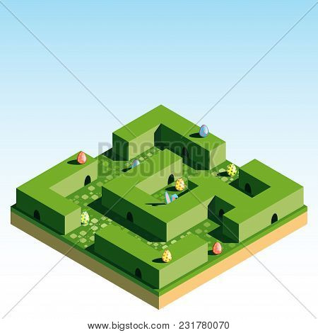 The Green Labyrinth In Which The Easter Bunny Hid. Hunting For Easter Eggs. 3d Isometric View. Vecto