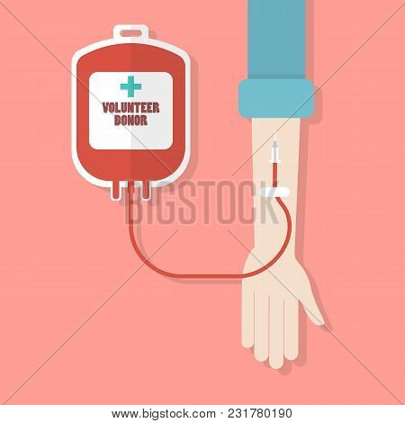Hand Donor With Blood Donation Bag. Flat Style Vector Illustration