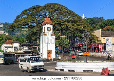 Kandy, Sri Lanka - January 8, 2018. City Square Clock Tower In The Morning. Workday Traffic