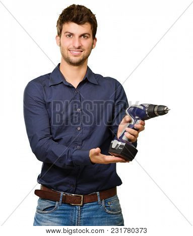Man Holding Drilling Machine On White Background