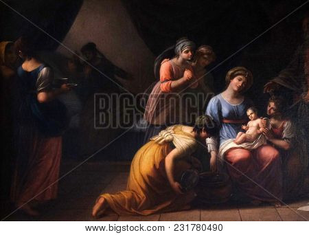 LUCCA, ITALY - JUNE 03: Birth of Mary' by A. Cecchi, fresco in Basilica of Saint Frediano, Lucca, Tuscany, Italy on June 03, 2017.