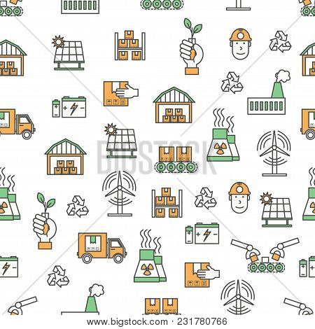 Vector Seamless Pattern With Decorative Ecology Production Symbols, Icons. Ecological Factory Backgr