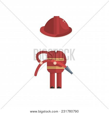 Sticker For A Photo Or Game, A Dfireman Costume Cartoon Style Vector Illustration Cartoon Style Vect