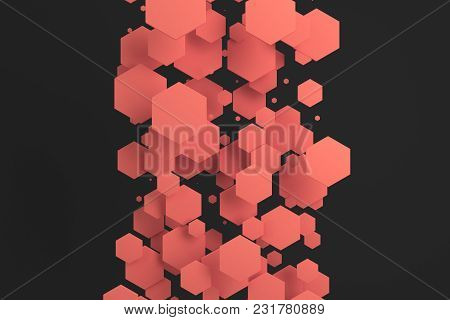 Red Hexagons Of Random Size On Black Background