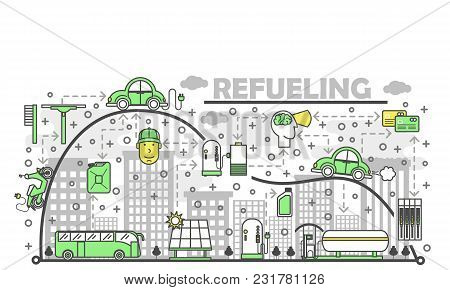 Refueling Concept Vector Illustration. Modern Thin Line Art Flat Style Design Element With Car Solar