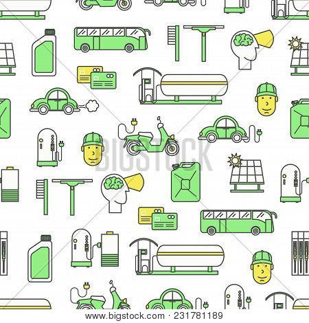 Vector Seamless Pattern With Decorative Car Solar Charging And Petrol Fueling Symbols, Icons. Fuelin