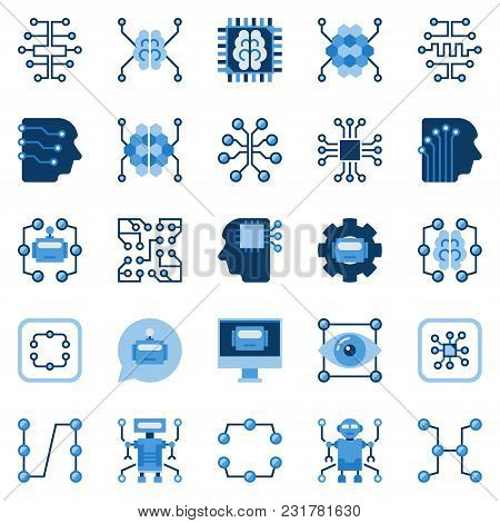 Artificial Intelligence Flat Icons Set. Vector Ai And Machine Learning Concept Symbols Or Design Ele