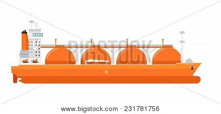 Gas Tanker Isolated On White Background Illustration. Freight Tanker Side View. Commercial Cargo Ves
