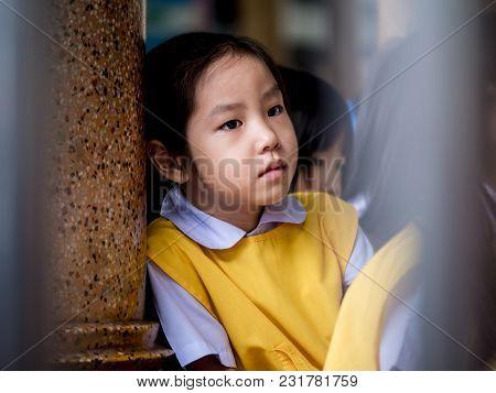 The Little Asian Girl Feeling Sad When She Go To School