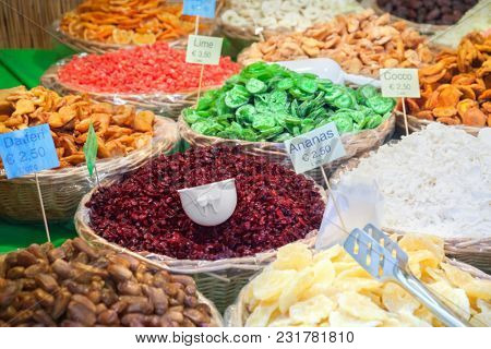 Close up of dried fruits