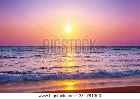 View of the sea at sunset