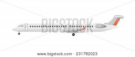 Side View Of Airplane Isolated On White Background Illustration. Business Aircraft. Passenger And Fr