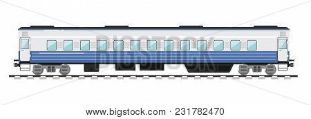 Side View Of Passenger Train Isolated On White Background Illustration. Public Transport. Railway Tr