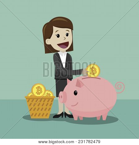 Finance And Relationships Concept. Businessman With A Pig Bank. Businessman Putting Coin Into The Pi