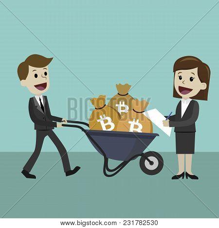 Profit And Success. Salary Bonus. Illustration Vector