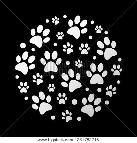 Dog Footprints Vector Illustration. Cat Or Dog Footprints In Circle Shape Creative And Modern Symbol