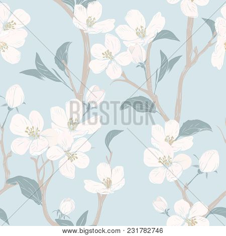 Blooming Tree. Seamless Pattern With Flowers. Spring Floral Texture. Hand Drawn Botanical Vector Ill