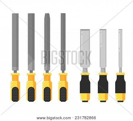 Building Tools Isolated On White Background Illustration. Chisels And Files In Flat Design. Hand Too