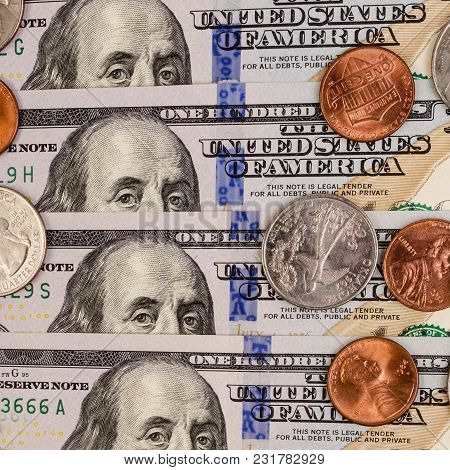 Banknotes And Coins Us. Finance Background. Concept Of Saving Money In A Crisis And Home Finances. S