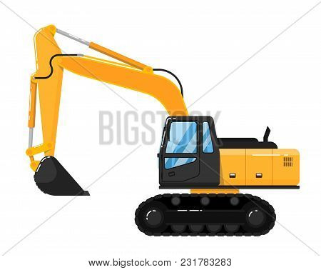 Yellow Crawler Excavator Isolated On White Background Illustration. Construction Digger Machine In F