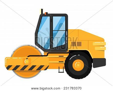 Yellow Road Roller Isolated On White Background Illustration. Road Construction Machine In Flat Desi
