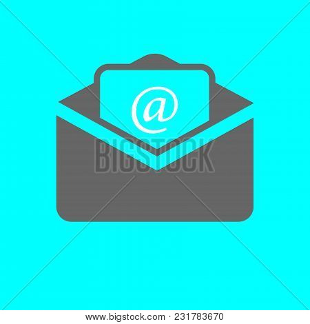 Outline Email Icon Isolated On Grey Background. Open Envelope Pictogram. Line Mail Symbol For Websit