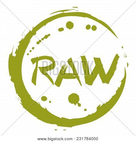 Raw Food Hand Drawn Round Label Isolated Illustration. Healthy Food Symbol. Raw Icon. Logo For Veget