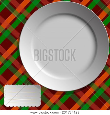 White Plate On Checkered Tablecloth With Card For Text - Vector.