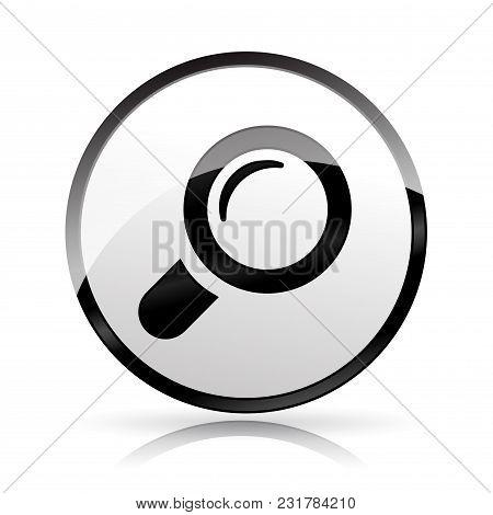 Illustration Of Magnifying Glass Icon On White Background