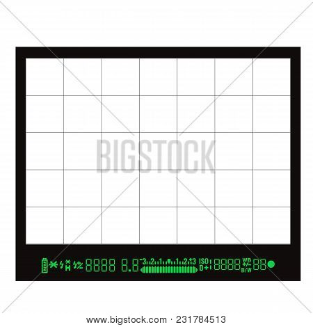 Focusing Screen Or Viewfinder Of Dslr Camera. Vector Stock Illustration.