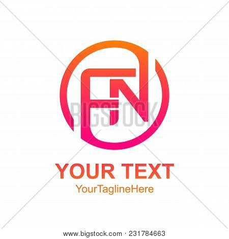 Initial Letter Fn Logo Template Colorfull Circle Design For Business And Company Identity