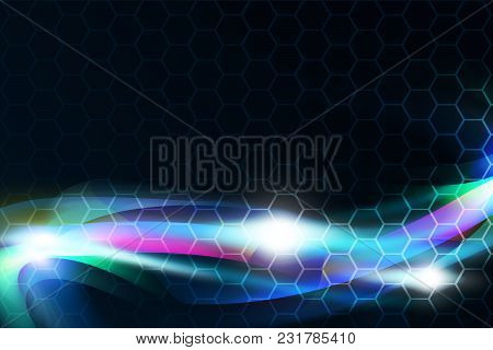 Bright Blue Streams Of Energy Glowing. Abstract Background Design. Over Hexagons Background.