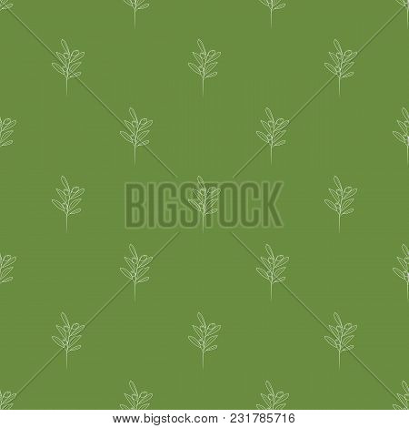 Olive Branches Seamless With Trendy Line Style Art Pattern. Illustrated Vector.