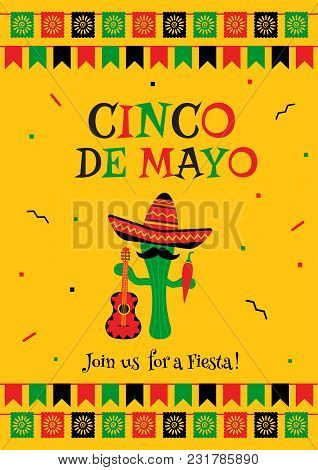 Stylish Cinco De Mayo Fiesta Invitation Poster Template. Festive Yellow Design With Bunting Flags. F