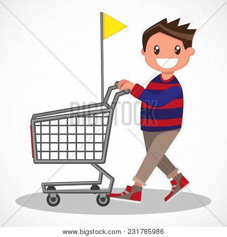 Cheerful Boy With His Shopping Trolley. Young Buyer With His Shopping Carts. Vector Sketch Cartoon I