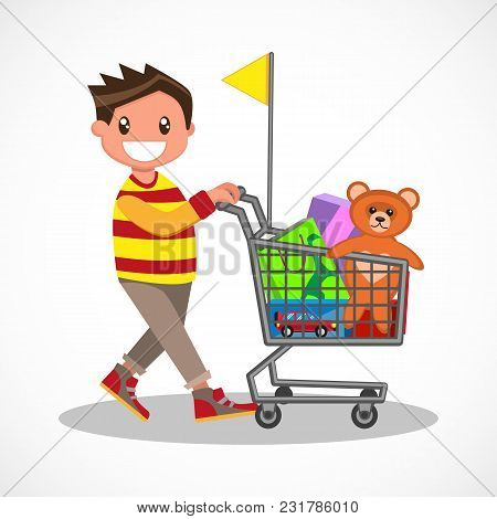 Happy Boy With Shopping. Young Buyer With His Shopping Trolley. Big Discount. Purchasing Of Goods An